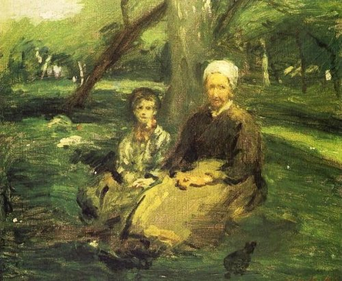Femme et enfant dans un verger