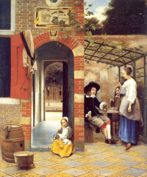 Figures Drinking In A Courtyard - Courtyard With An Arbor And Drinkers