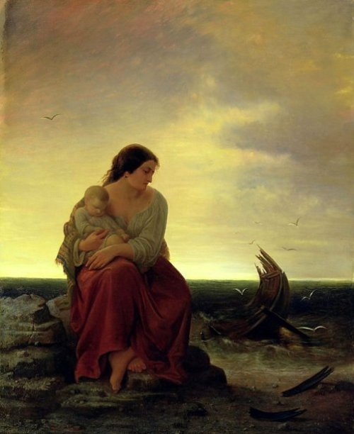 Fisherman's Wife Mourning On The Beach