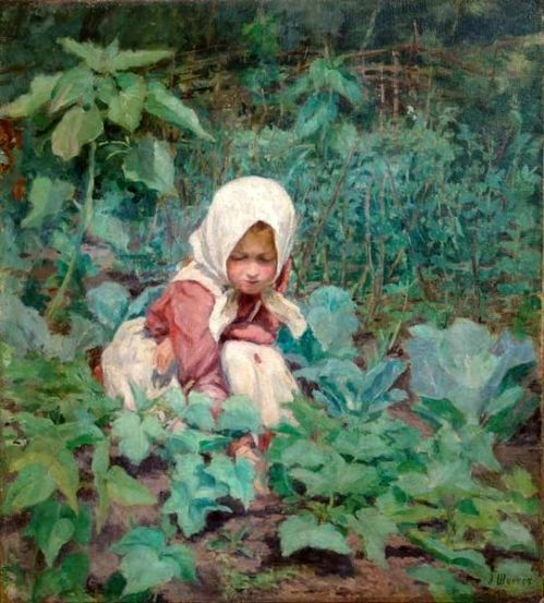 Girl Picking Cucumbers
