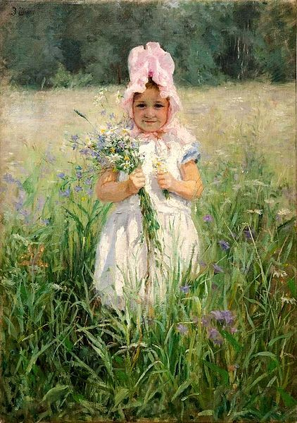 In The Flowers (Portrait Of Vasily Polenov's Daughter)