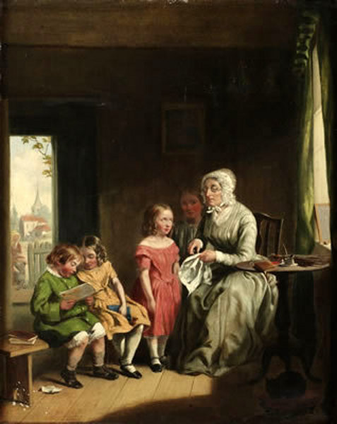 Interior With Woman And Children