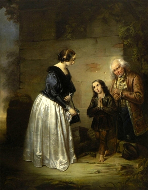 Lady Gives Alms To A Beggar And His Son