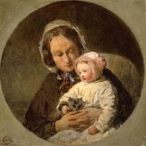 Mère avec son enfant et un chat