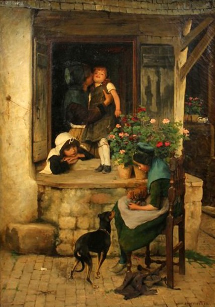 Mother With Children And Dogs