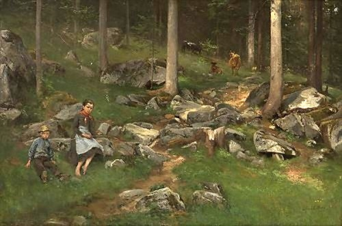 Part Of A Wood With Girl, Boy And Cows