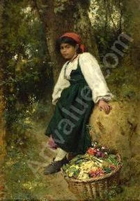 Resting Girl With Basket Of Vegetables