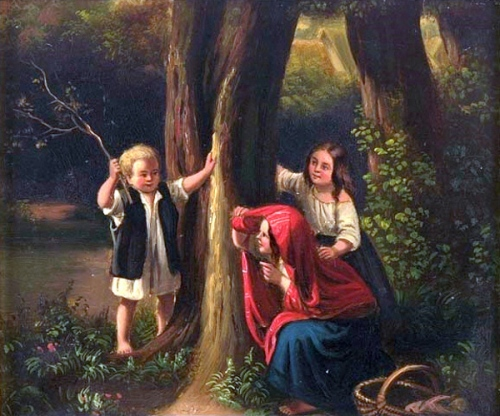 Three Children Playing Hide-and-Seek In A Forest