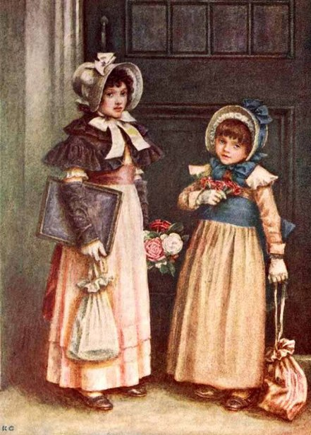 Two Girls Going To School