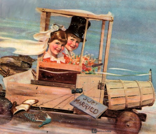 Young Couple In A Soap Box Car