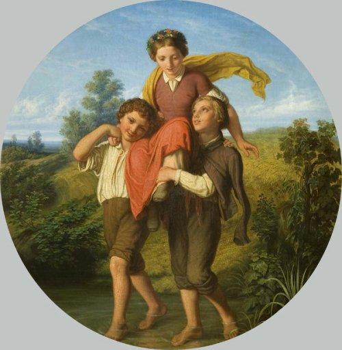 Young Gentlemen Help A Girl To Cross A Brook