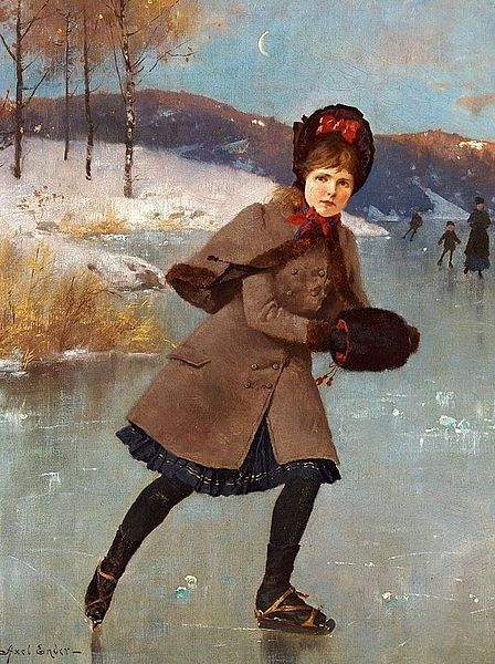Young Girl On A Frozen Lake, Norway