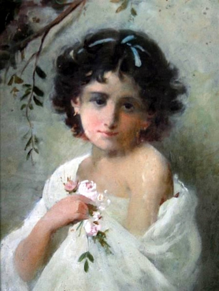 A Young Girl With Posy Of Flowers