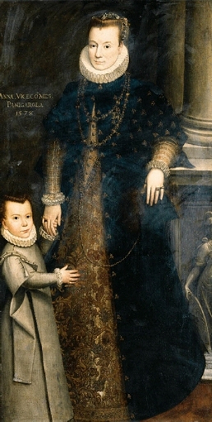 Anna, Viscountess Of Panigarola, With Her Child