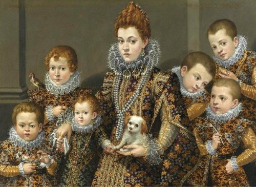 Bianca degli Utili Maselli With Six Of Her Children