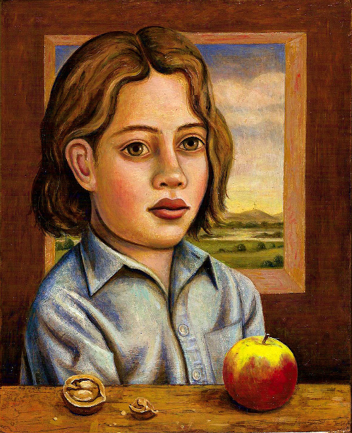 Boy With Walnut And Apple