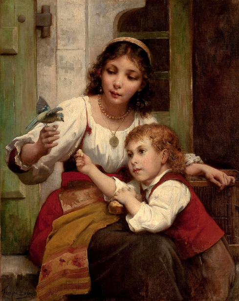 Child And Mother With Bird