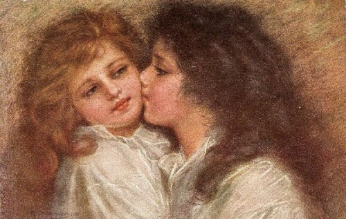 Children Kissing On The Cheek