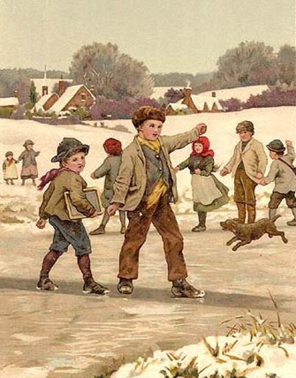 Children Sliding On The Ice