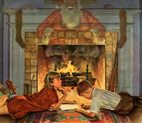 Children Thinking About Santa Claus