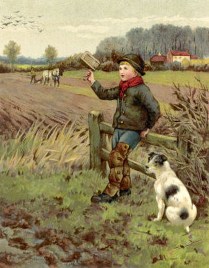 Country Boy And His Dog Scare Away Crows With A Rattle