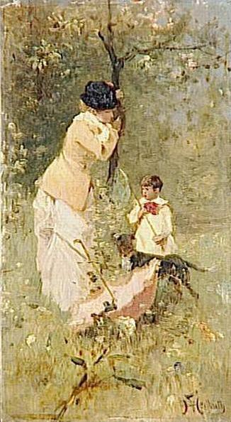 Femme et enfant dans un paysage