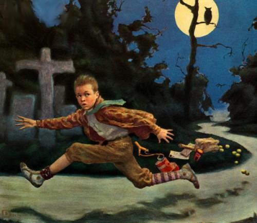 Frightened Boy On Halloween