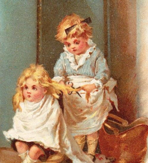 Girl Giving Sister Haircut