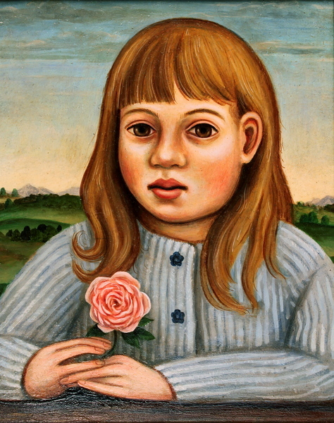 Girl with blue sweater and pink rose
