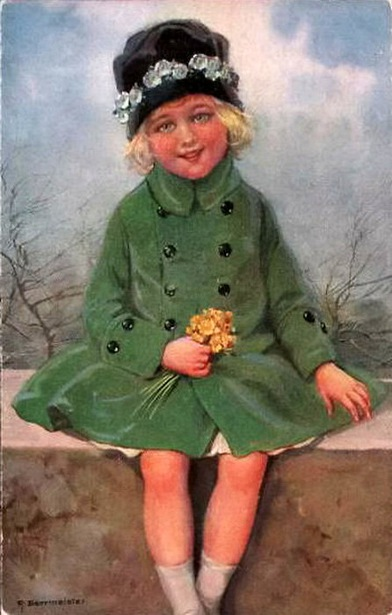 Girl With Flowers Dressed In Winter Clothes