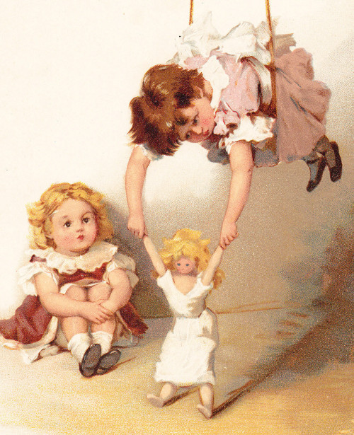 Girls On Swing With Doll
