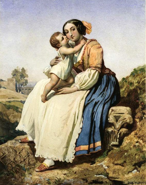 Italian Peasant Woman And Child