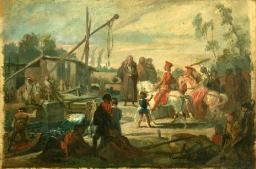 Leonardo mostra a Ludovico il Moro le chiuse del Naviglio