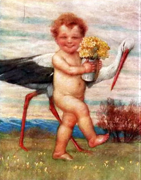 Little Boy With A Stork