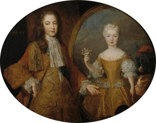 Louis XV (At The Age Of 13) And The Portrait Of His Fiancée The Infanta Mariana Victoria Of Spain