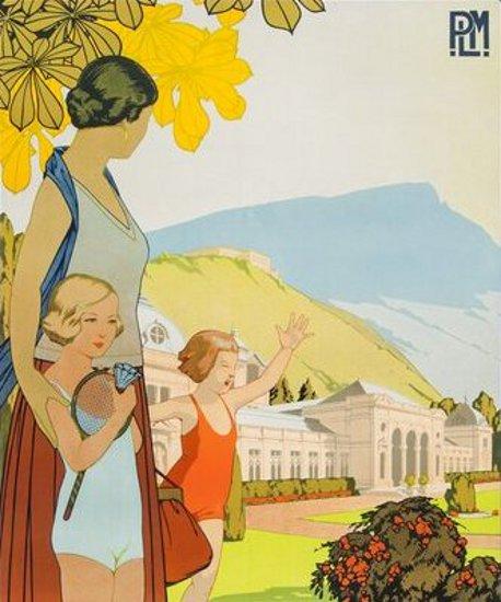 Mère et ses enfants à la station de cure saline de Besançon