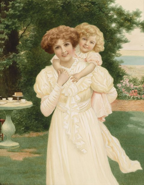 Mother And Child In A Garden