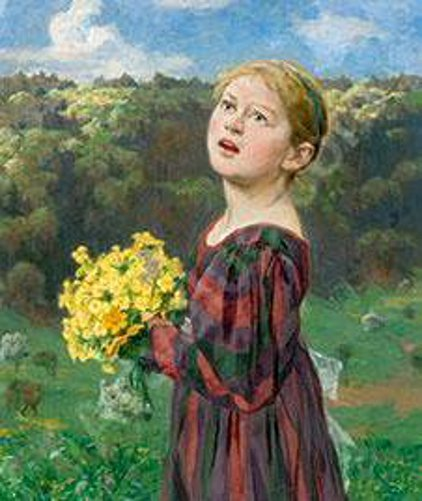 Peasant Girl With Yellow Flowers