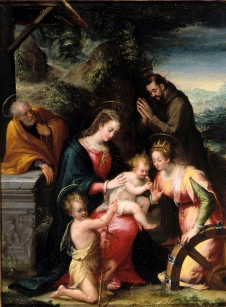 The Mystic Marriage Of Saint Catherine With Saints Francis, Joseph And The Infant Saint John The Baptist