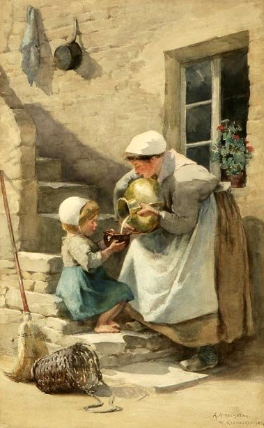 Woman And Child Pouring Milk