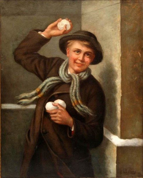 Young Boy Throwing A Snowball