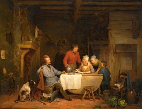 A Family In A Kitchen Interior