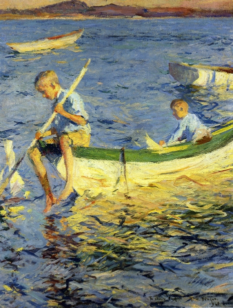 Boating At Vinalhaven - Two Boys In A Boat