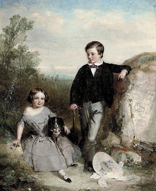 Brother And Sister With Their Dog, In A Landscape
