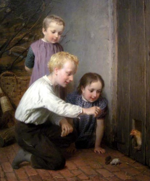Children Playing With Chickens