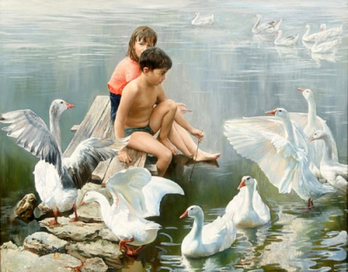 Children With Geese