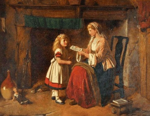 Cottage Interior With Mother And Child