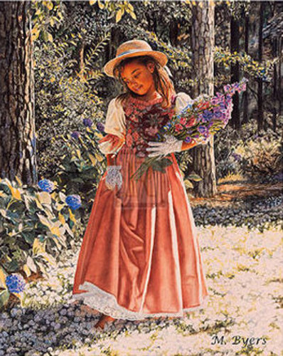 Girl Carrying Flowers