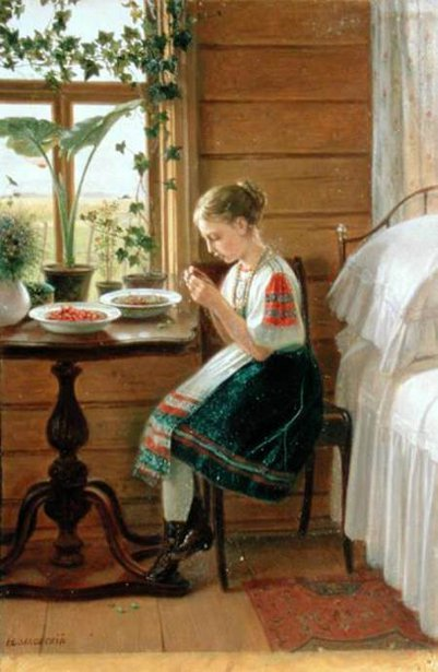 Girl Peeling Berries