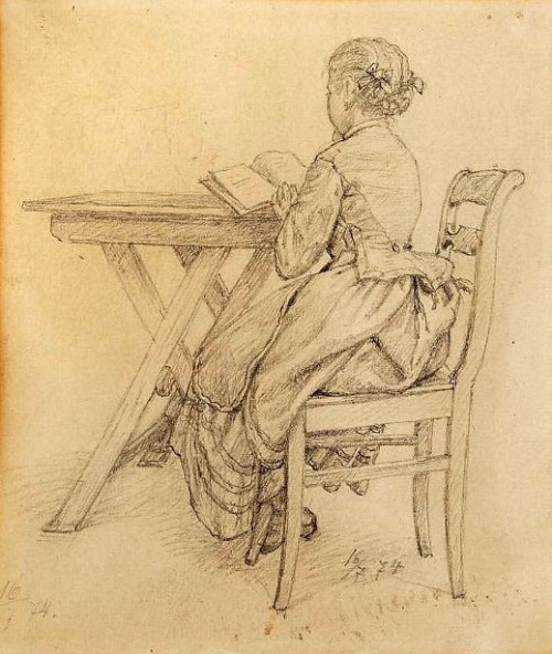 Girl Reading At The Table